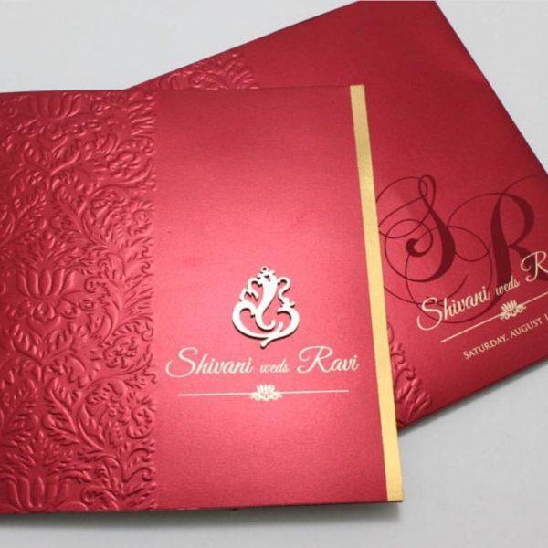 Hindu wedding cards Red