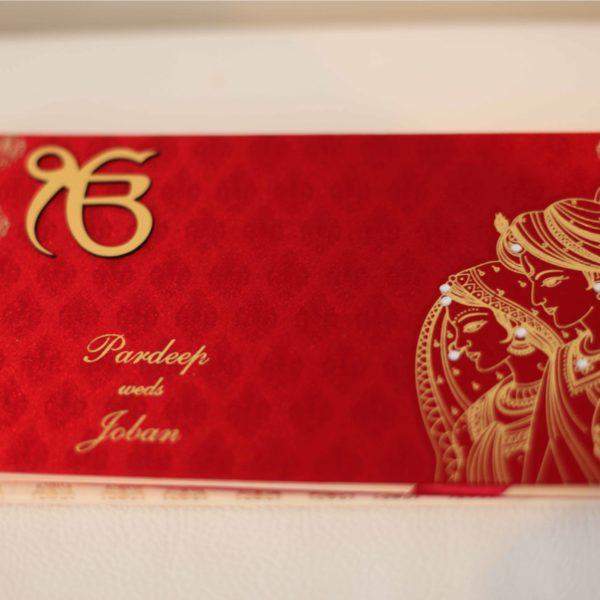Satin Sikh Wedding Invitation