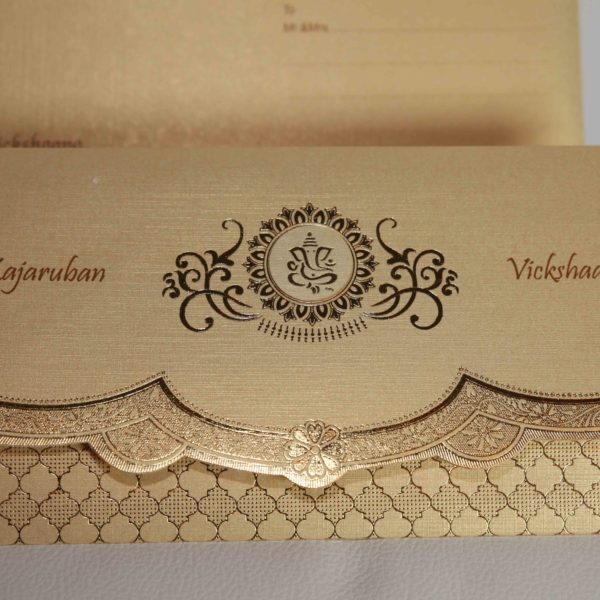 Golden Cream Broach Hindu wedding invitation