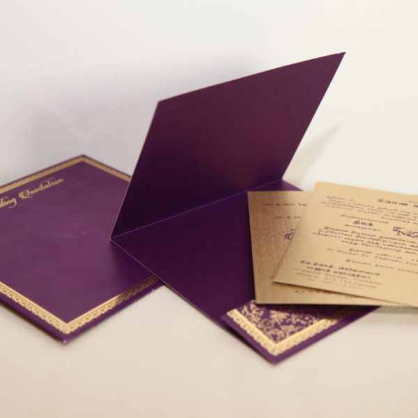 Foil flora purple hindu wedding invitation