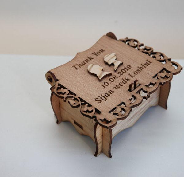 Wooden laser cut cake box