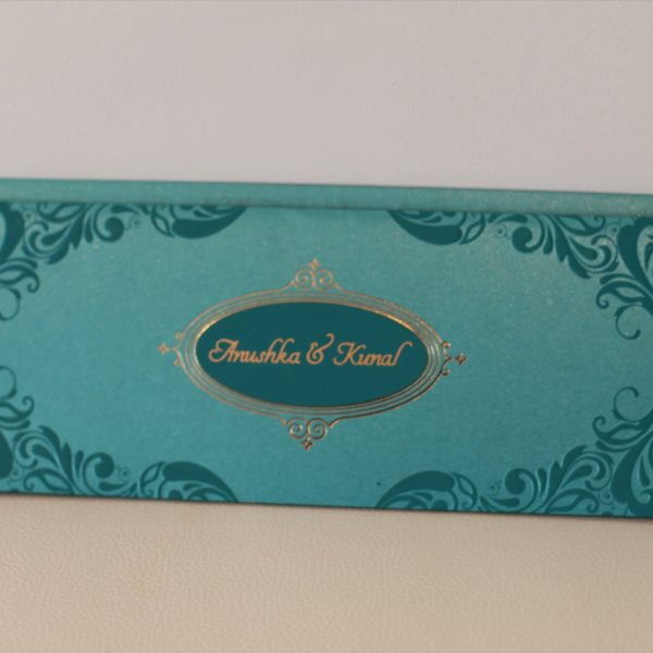 Hindu wedding Cards Green