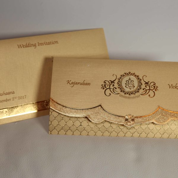 Golden Cream Broach Hindu wedding invitation-03