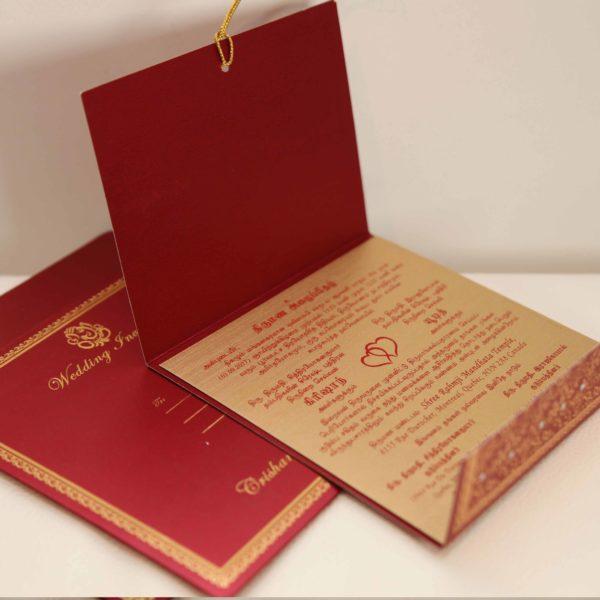 Foil flora hindu wedding invitation_Card