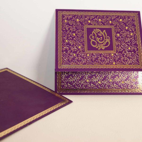 Foil flora purple hindu wedding invitation_03